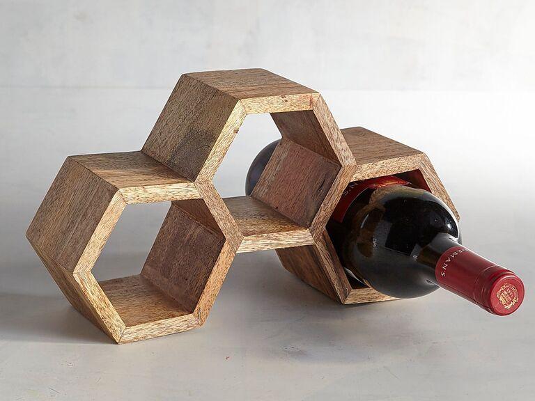 Geometric wine rack 25th anniversary gift for her