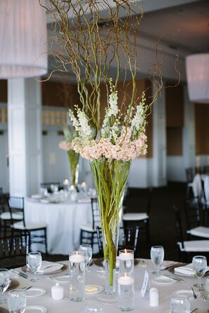 Tall Centerpiece with White and Blush Linaria