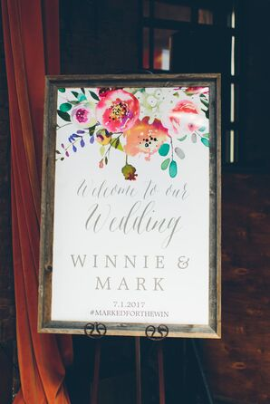 Bright Floral Watercolor Welcome Sign