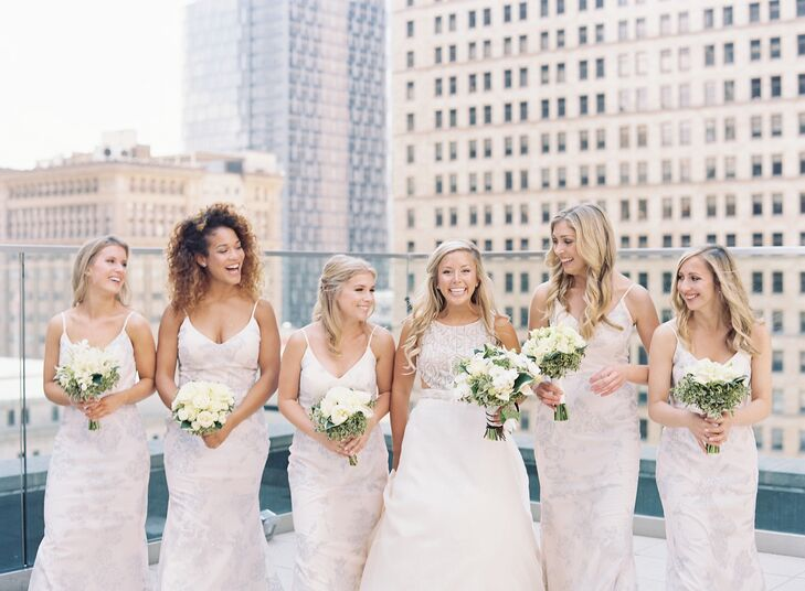 Classic Bridal Party on the roof of the Kimpton Hotel Monaco in Pittsburgh, Pennsylvania