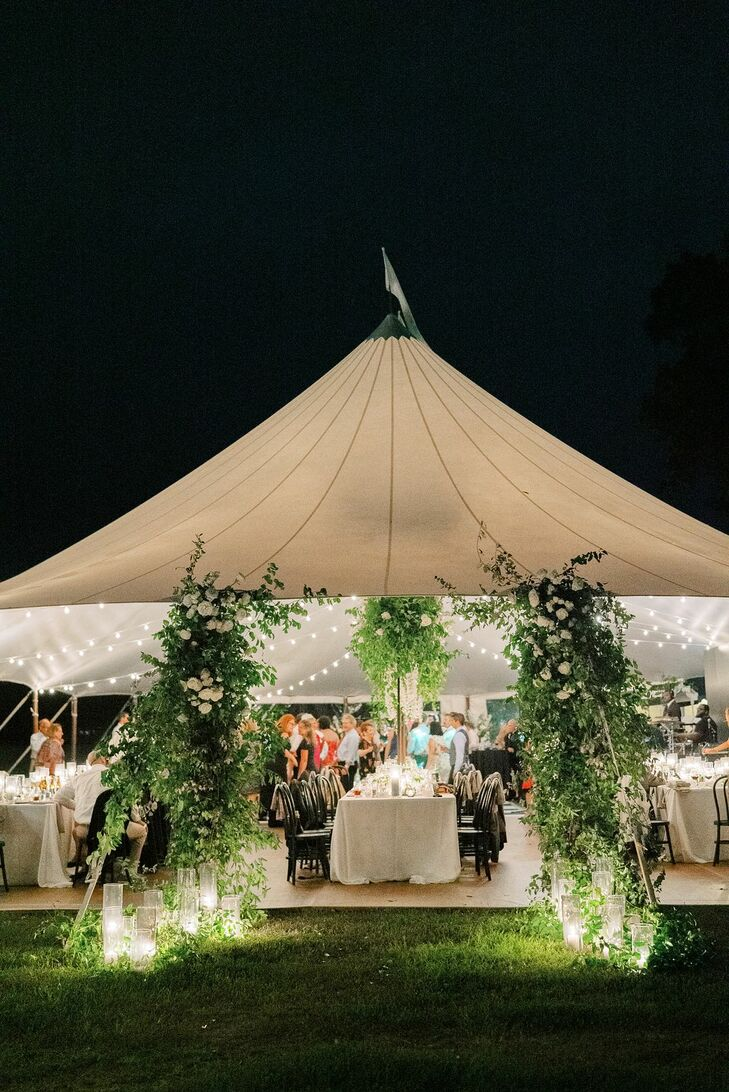 Sailcloth Tent with String Lights and Greenery at Wye River Estate