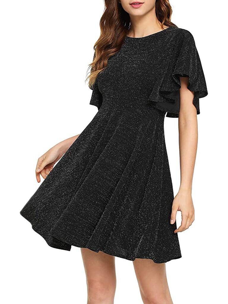 A-line black glitter swing mini dress