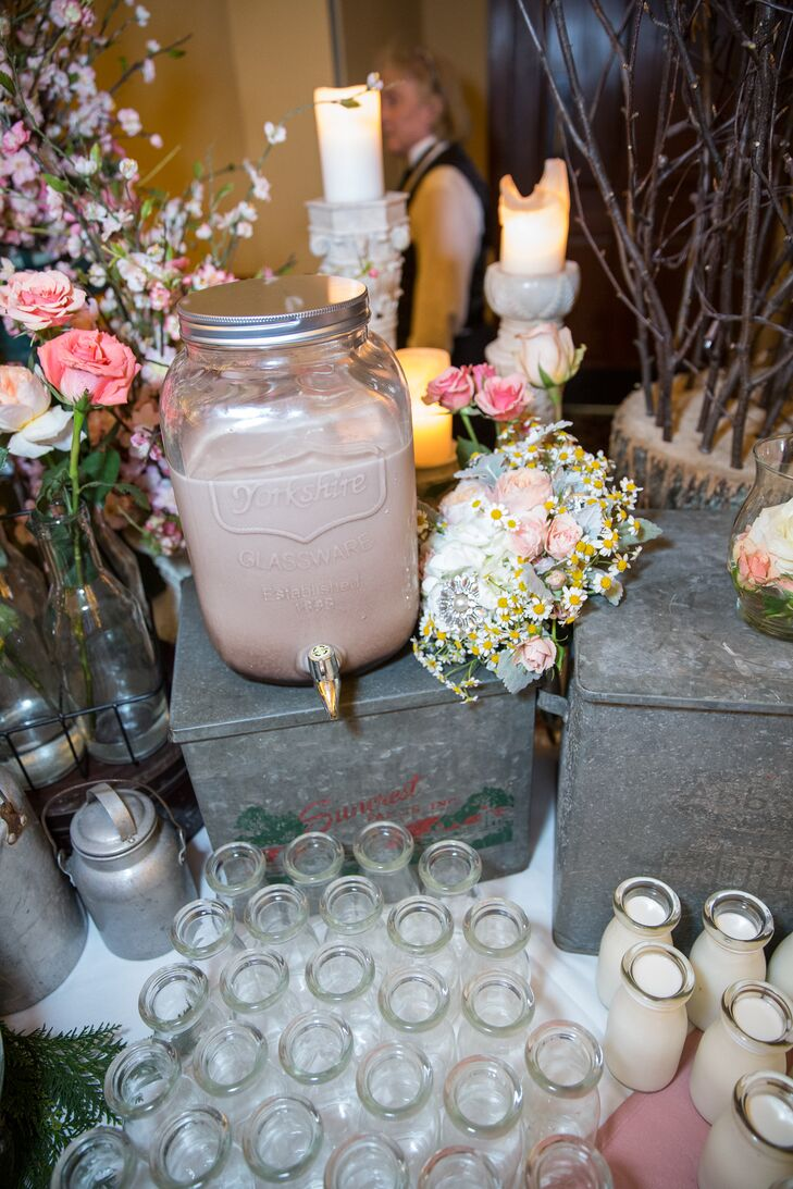 Instead of a traditional wedding cake, a dessert option was the milk and cookie bar with old-fashioned milk jars filled with strawberry, chocolate or plain milk. Cookie options included large homemade chocolate chip, peanut butter and double chocolate chip.