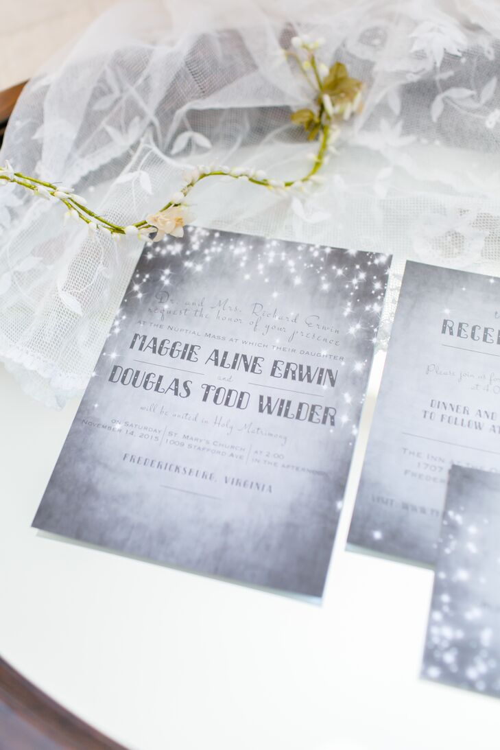 Maggie designed the save-the-dates, invitations, place cards, table numbers, thank-you cards and signs. The couple's friend Missy painted the wedding logo, a watercolor of Maggie and Doug sitting on a paper moon in the sky.