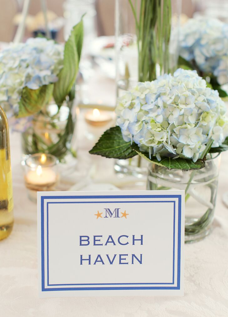 Blue and White Beach-Themed Table Names