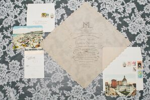 Vintage Handkerchief Wedding Invitation