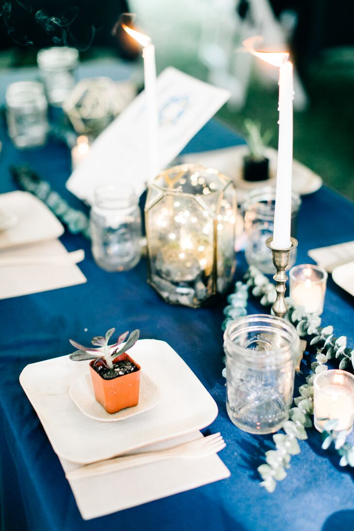 Taper Candle, Eucalyptus and Geometric Lantern Centerpieces