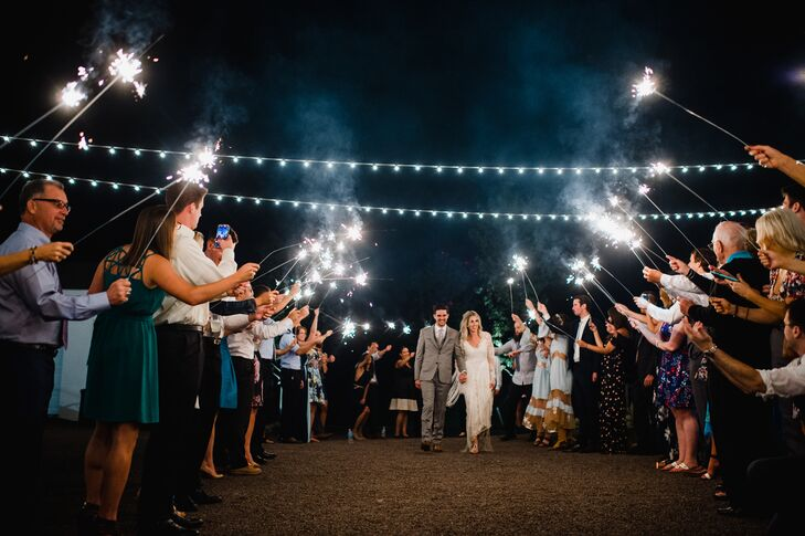 Reception Exit through String Lights with Sparklers