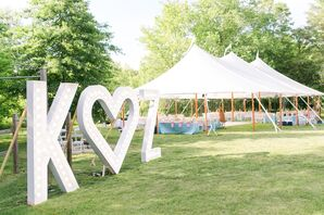 Modern Marquee Letters at Backyard Tented Wedding