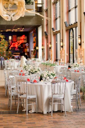 Round Reception Tables with Ivory Linens