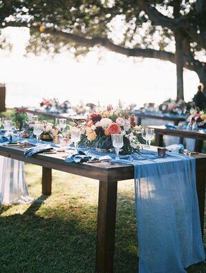 Blue Runner Draped Over Wooden Table