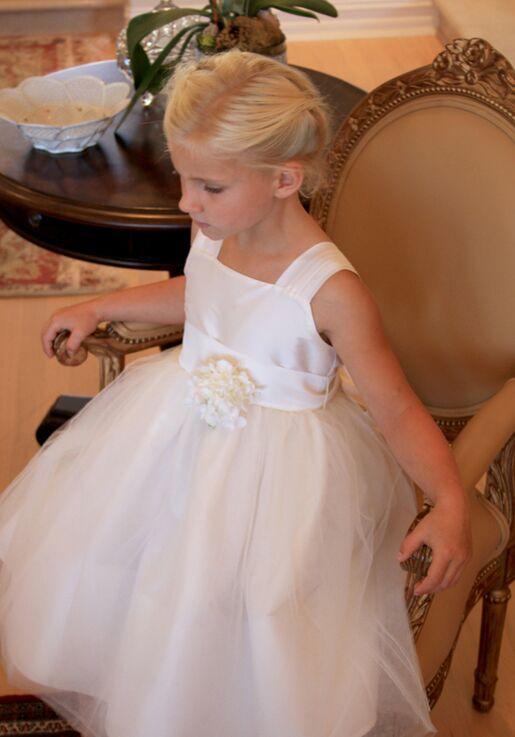 7a09535e45f Isabel Garretón Venice V-Back Flower Girl Dress in Ivory Black Flower Girl  Dress