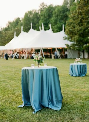 Blue Linens on Cocktail Table at Virginia Wedding