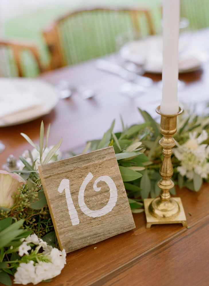 Simple White and Brown Wooden Table Numbers