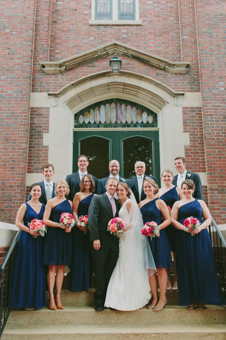 Navy And Coral Wedding.Navy And Coral Wedding Party