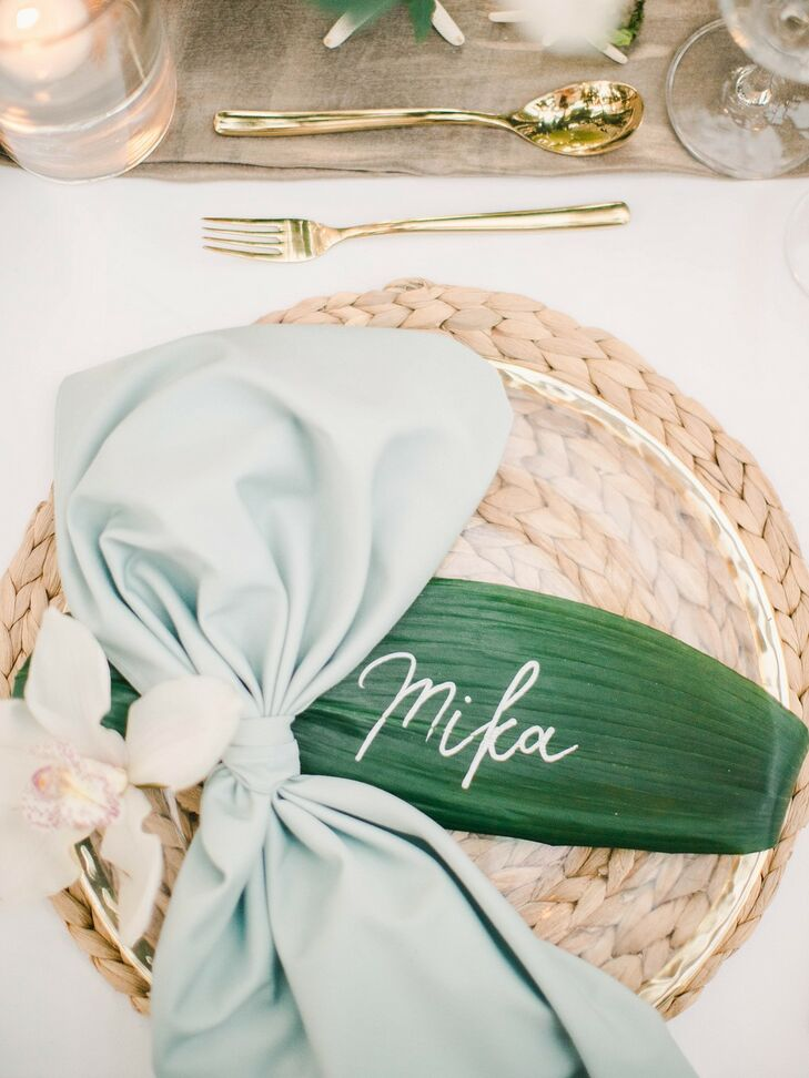 Tropical Place Setting with Banana Leaf Place Card