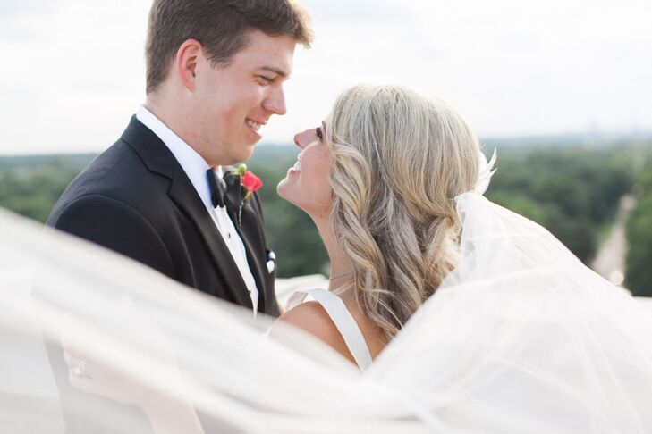 """Cari Lewis (27 and a 6th grade language arts teacher) and Brett Cowan's (27 and a CPA) classic wedding was inspired by the designer Kate Spade. """"Her f"""