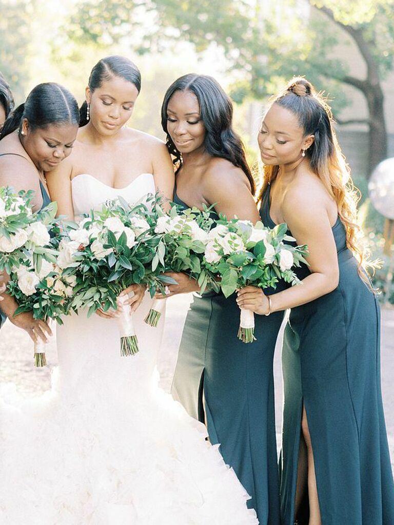 Bridesmaid half updo top knot