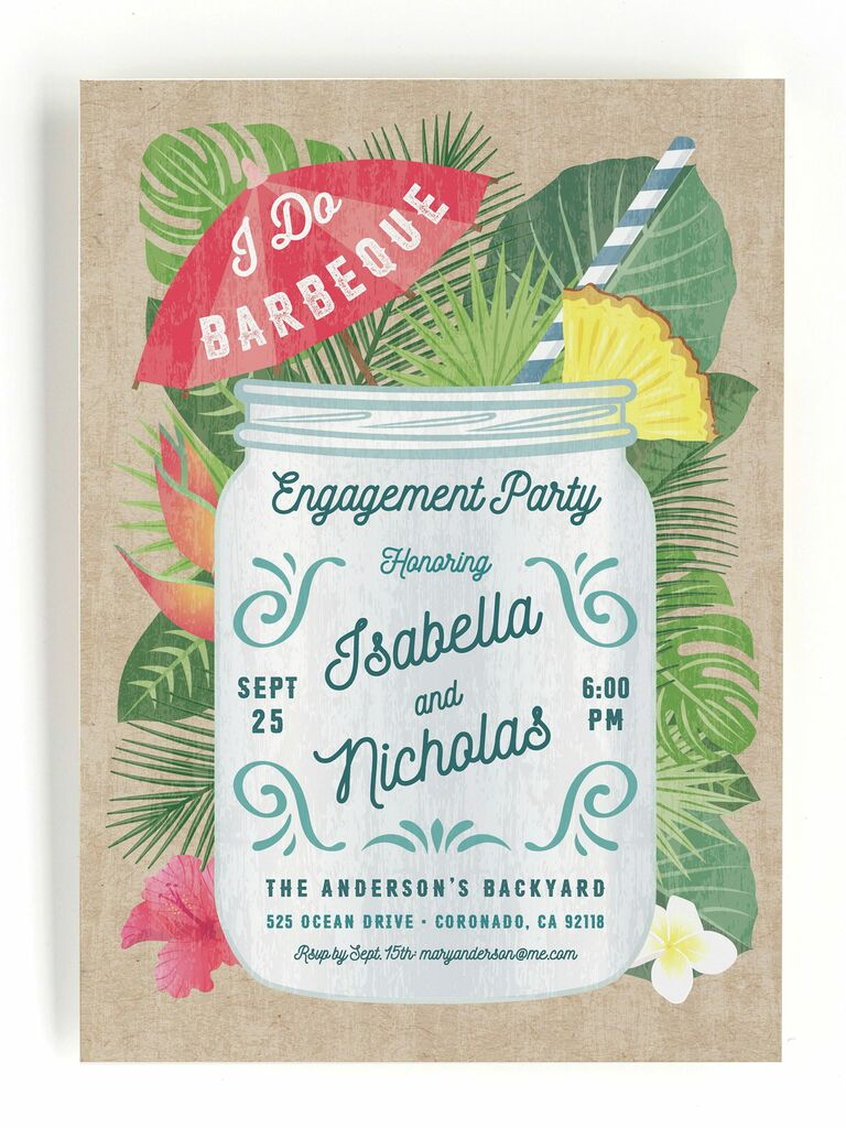 Tropical BBQ engagement party invitation