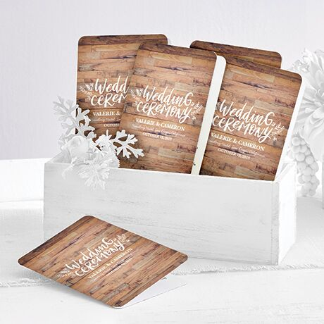 Customizable wedding programs featuring your wedding details on a natural background.