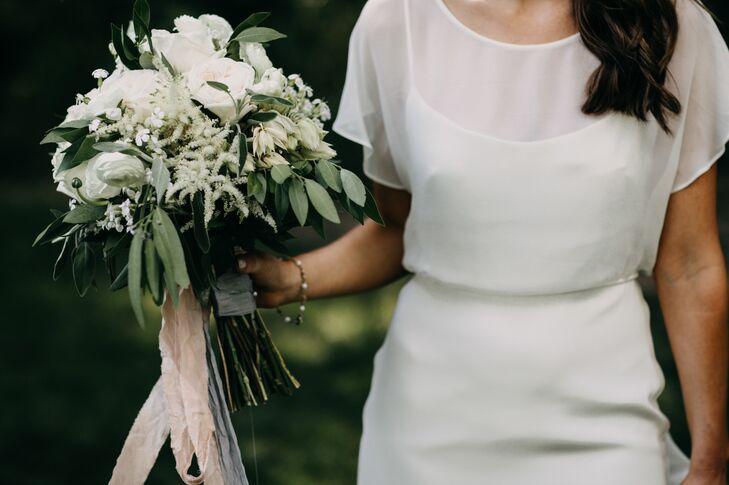 Short Sleeve Wedding Dress with Overlay