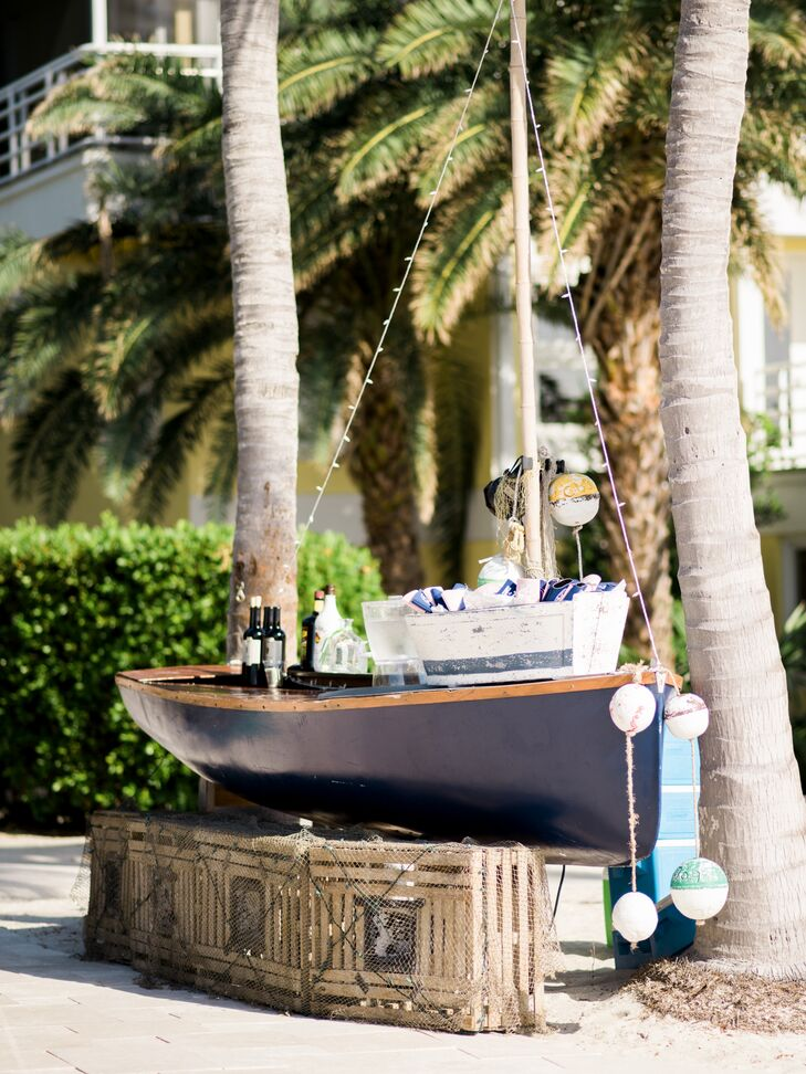 """Another item Nicole stumbled upon while searching for ideas was a boat bar from Caribbean Catering. """"I knew I had to have it. Everyone loved that,"""" she says."""