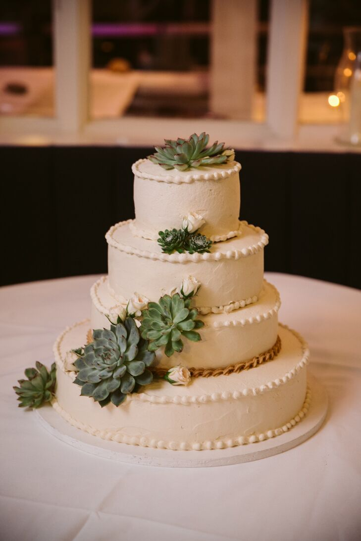 Succulent and Buttercream Pearl Wedding Cake