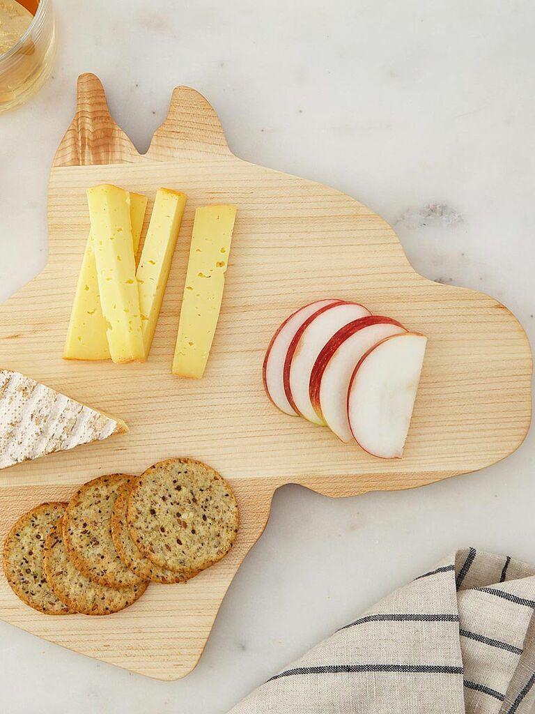 wood cheese board shaped like dog head
