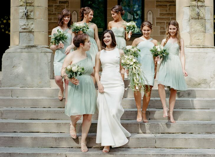 Elegant, Short Mint Chiffon Bridesmaid Dresses