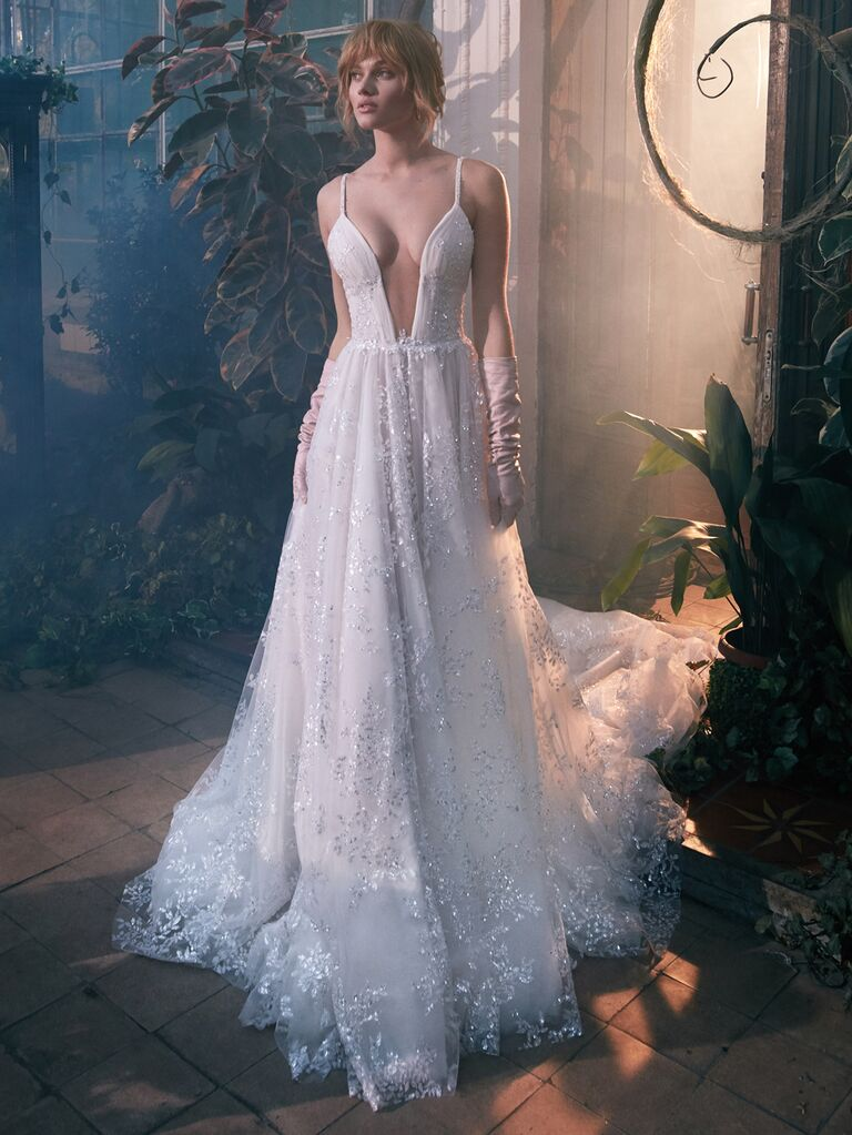 GALA by Galia Lahav Spring 2020 Bridal Collection plunging A-line wedding dress with embellishments