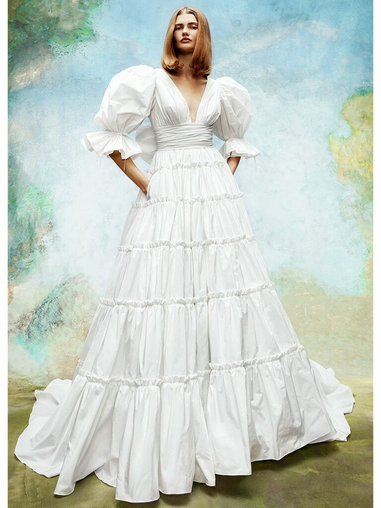 Puffy Sleeves Ball Gown Wedding Dress