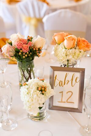 Peach and Coral Rose Centerpieces