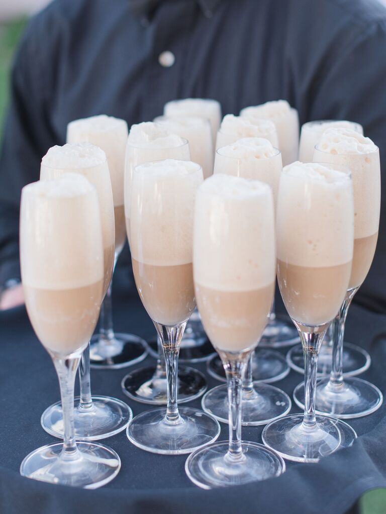 root beer floats in champagne glasses