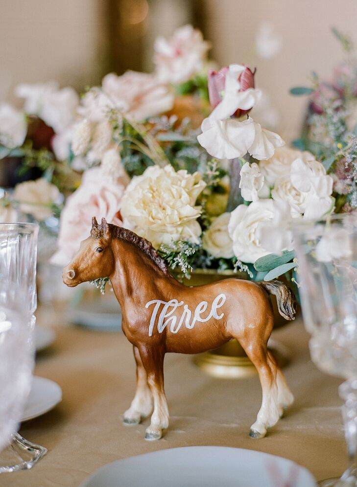 Horse Table Number for California Wedding