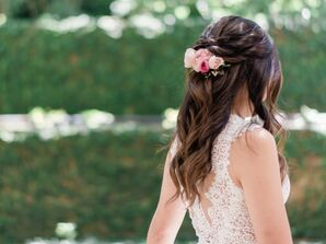 Romantic Half-Up Hairstyle with Flowers