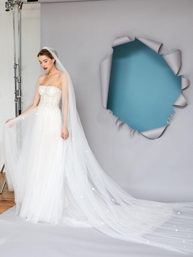 Gracy Accad draped bustier wedding dress