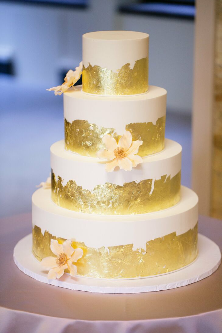Gold Leaf And Sugar Flower Wedding Cake