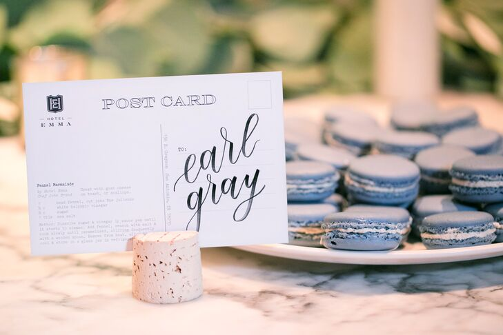Modern Dessert Table with Macarons and Calligraphed Signs