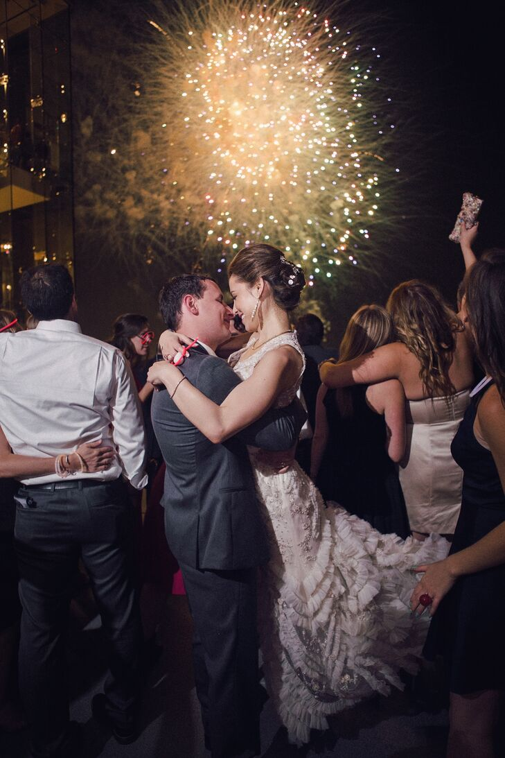 Getting married on the July 4 gave Nicole and Dan the perfect excuse to surprise their guests with a fireworks display.