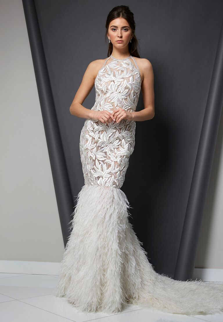 Randi Rahm Spring 2020 Bridal Collection embroidered fit-and-flare wedding dress with feathered skirt