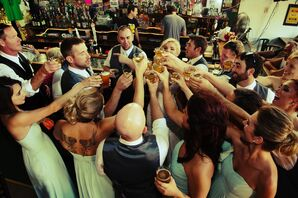 Mint Wedding Party Toasts with Shots in Monclova, Ohio