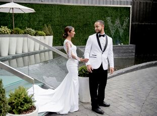 Sequined linens, silver chiavari chairs and cascading arrangements of white phalaenopsis orchids brought Angela Richard (31 and a wardrobe editor) and