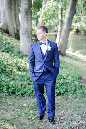 Navy Blue Groom Tuxedo with Bow Tie
