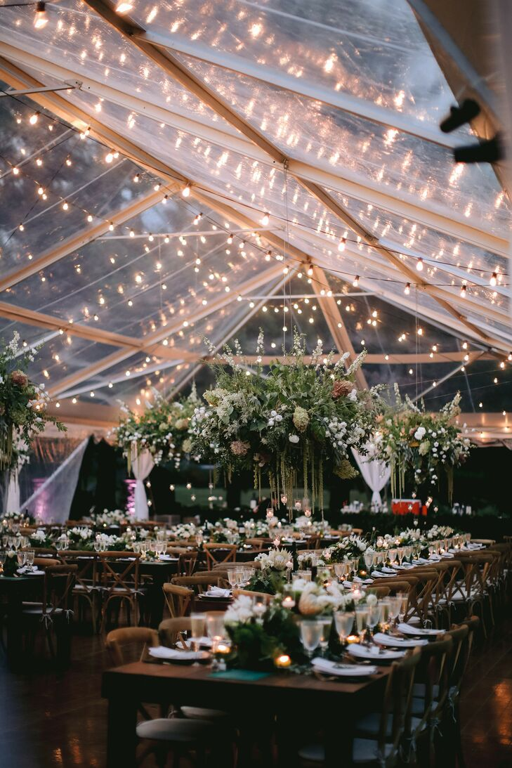 Tented Reception with String Lights at The Forest Lake Club in Pennsylvania