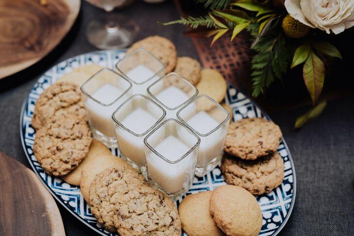 Casual Dessert of Cookies and Milk Shots