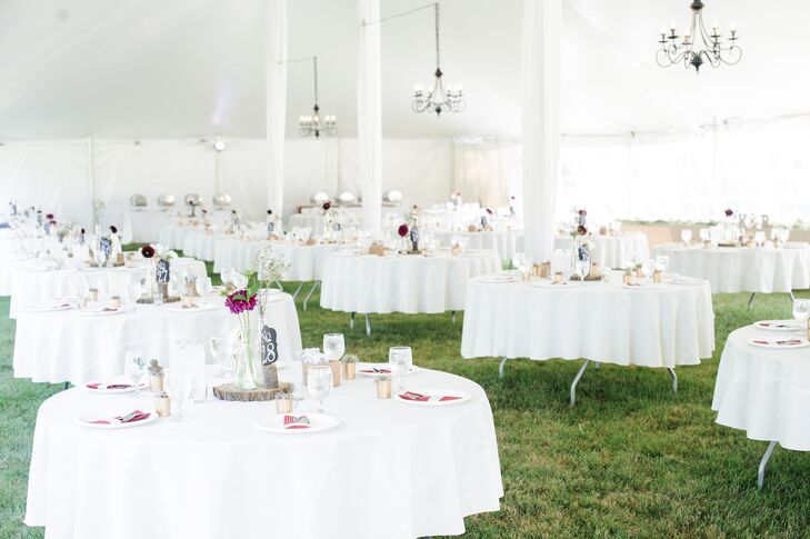 All-White Tented Reception with Chandeliers