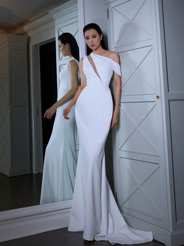 Romona Keveza wedding dress asymmetrical neckline