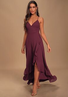 Lulus In Love Forever Plum Lace-Up High-Low Maxi Dress V-Neck Bridesmaid Dress