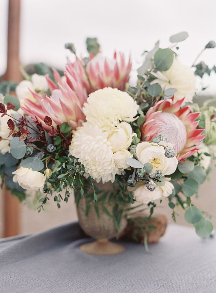 Ivory and Red Floral Arrangement in Basket
