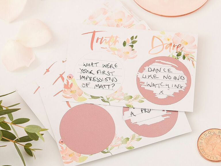 Bachelorette party truth or date scratch off game